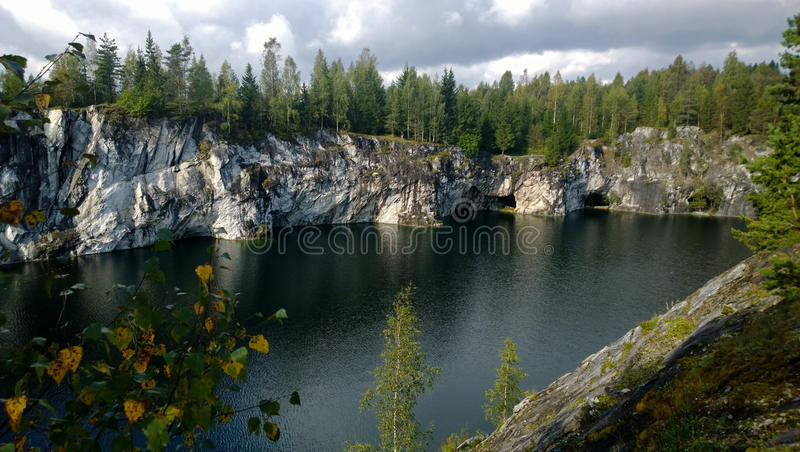 The reflection of the marble canyon in the beautiful serene lake royalty free stock photo