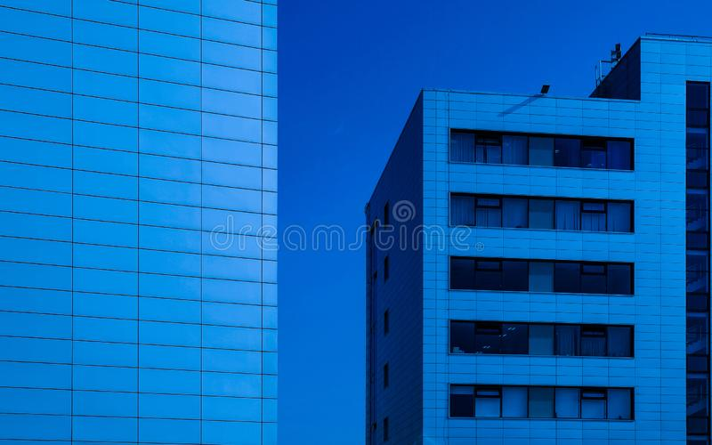 Reflection modern window facade office building background. Facade glazing. Reflection of modern office building window facade background stock image