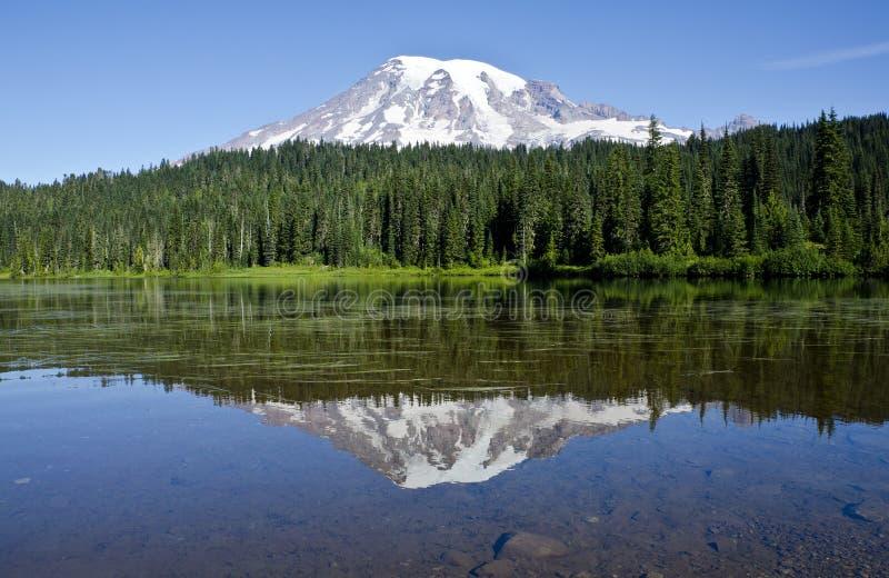 Reflection of Mount Rainier stock image