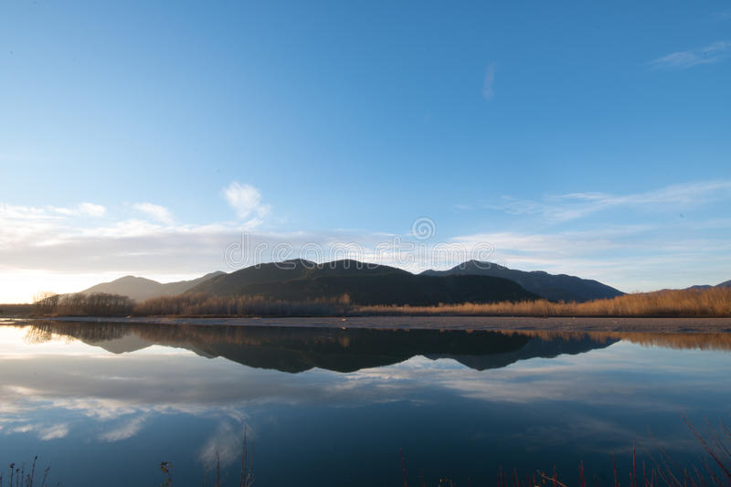 Reflection of mountain stock photography
