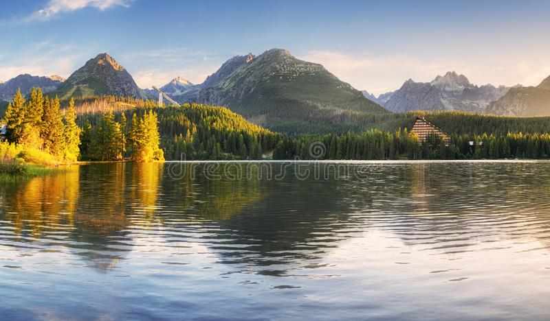 Reflection of mountain lake - Strbske pleso, Slovakia landscape.  royalty free stock photography