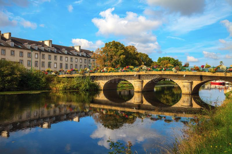 Reflection on the Nantes Brest canal royalty free stock images