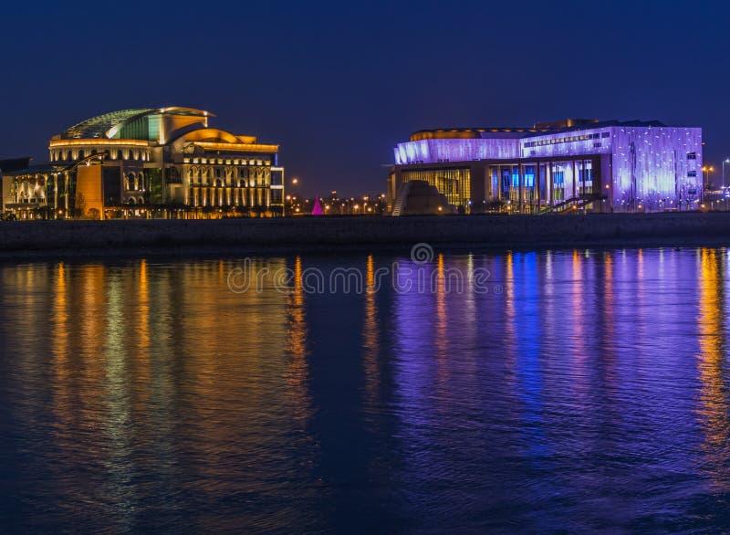 Reflection, Night, Landmark, Water stock photo