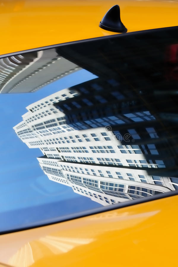 Reflection in NY taxi cab royalty free stock image