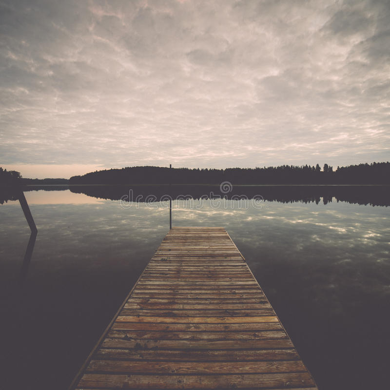 Free Reflection Of Clouds In The Lake With Boardwalk Stock Images - 47133184
