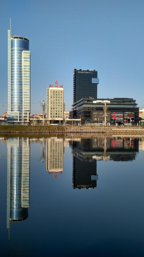 Free Reflection Of The City Street In The River Stock Image - 159962681