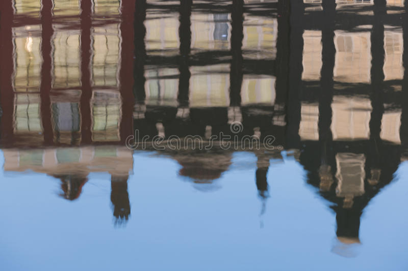 Reflection Of Old Amsterdam Houses Royalty Free Stock Images