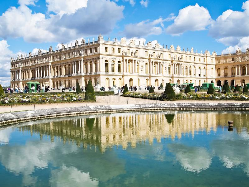 Reflection of Palace of Versailles stock images