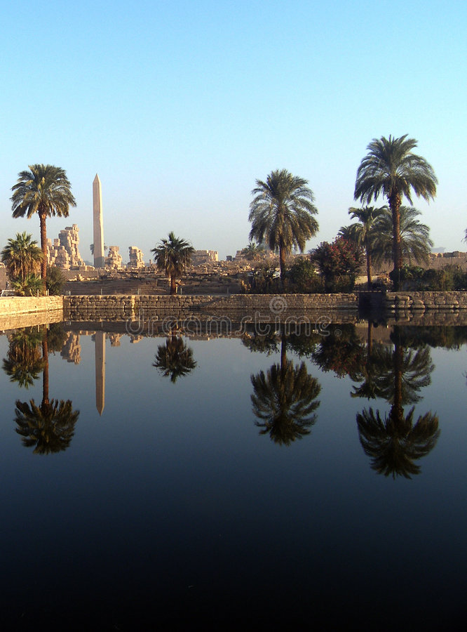 Reflection of palms. The reflection of palms and monuments, abeliscs in water stock photography