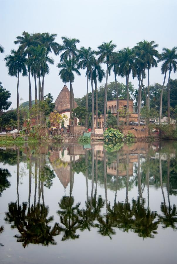 Reflection of Puthia Village the Temple Complex over the lake,Rajshahi district, Bangladesh. Reflection of Puthia Village the Temple Complex over the lake royalty free stock images