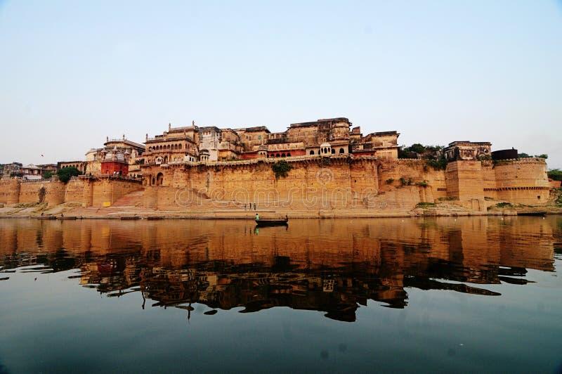 Reflection of Ramnagar Fort, varanasi royalty free stock photography