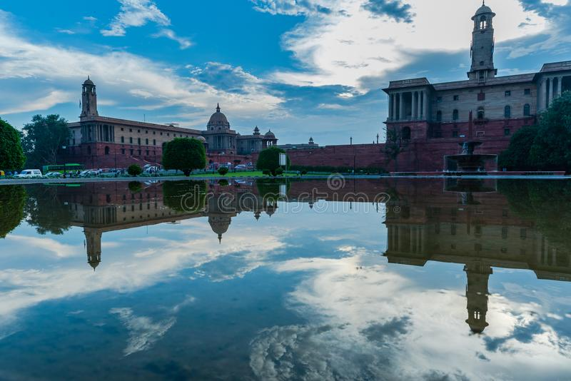 Reflection of Rashtrapati Bhawan with nice cloud background. Reflection of Rashtrapati Bahwan at New Delhi, a UNESCO World heritage site stock image