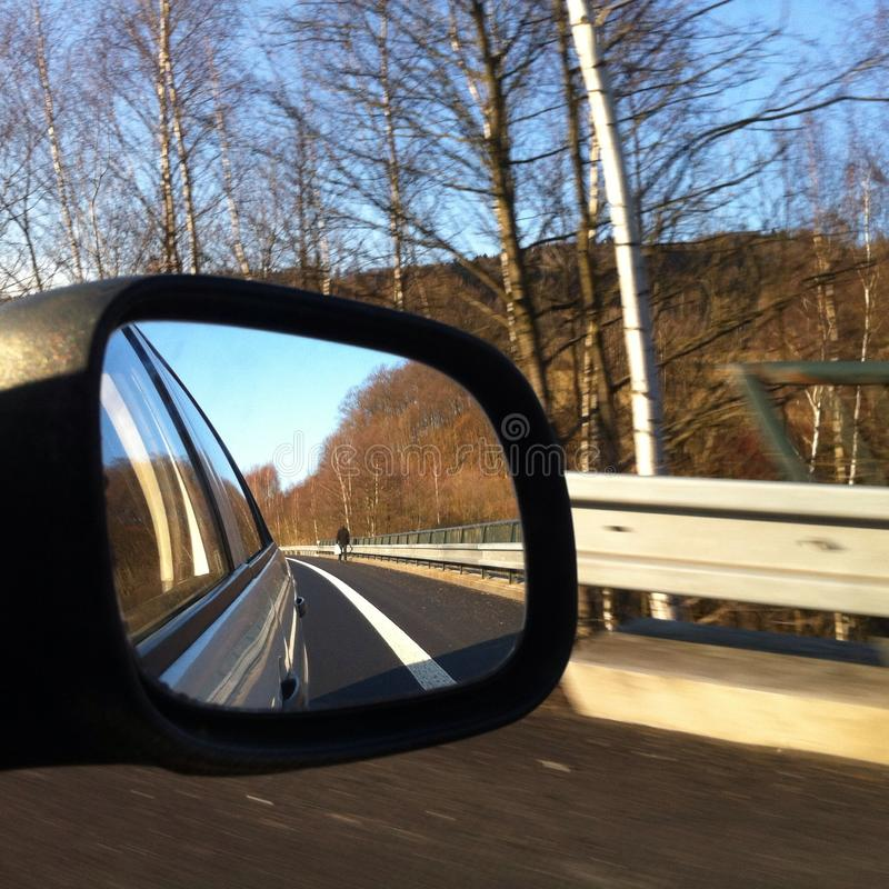 Reflection rear view mirror royalty free stock photos