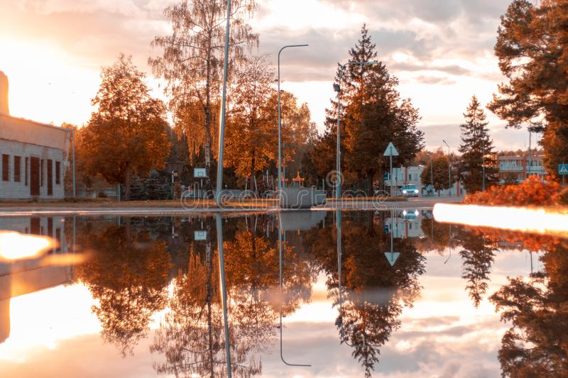 A reflection from Rukla Lithuania 2018. stock photography