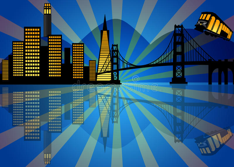 Download Reflection Of San Francisco Skyline At Night Royalty Free Stock Photos - Image: 21964068