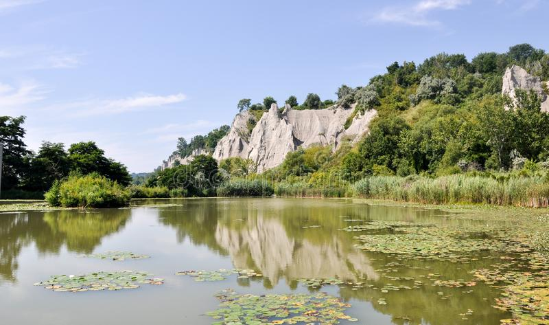 Reflection of Scarborough Bluffs on Lake Ontario on a sunny day - Toronto. Canada stock photography