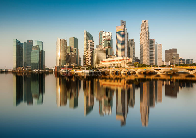 Reflection of Singapore Central Business District (CBD) in the morning. Singapore, Singapore - August 10,2012: Reflection of Singapore Central Business District royalty free stock images