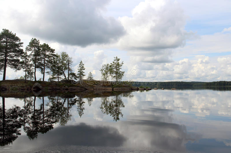 Reflection of the sky in lake stock image
