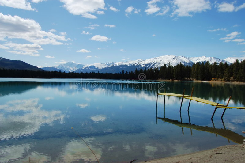 Download Reflection Of Sky On Lake In Jasper Royalty Free Stock Image - Image: 7090526