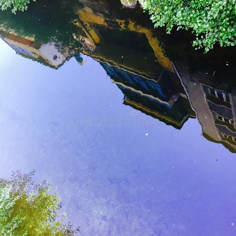 Reflection of a small town of Spain. royalty free stock photography