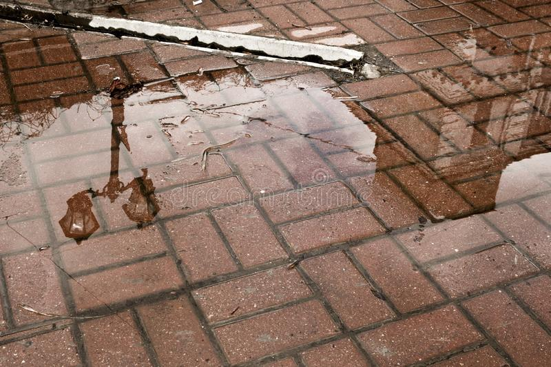 Reflection of the street lamp and a building in a puddle on the red brick surface royalty free stock photos