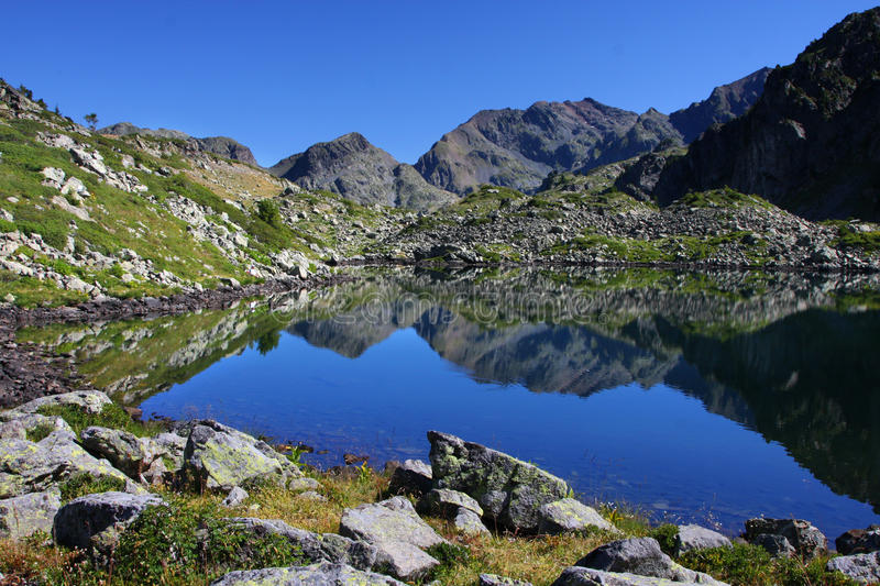 Reflection of summits in blue Lake