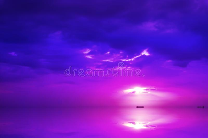 Reflection of sunset on horizontal sea colorful cloud sky. Reflection of sunset on horizontal sea and colorful cloud sky royalty free stock images