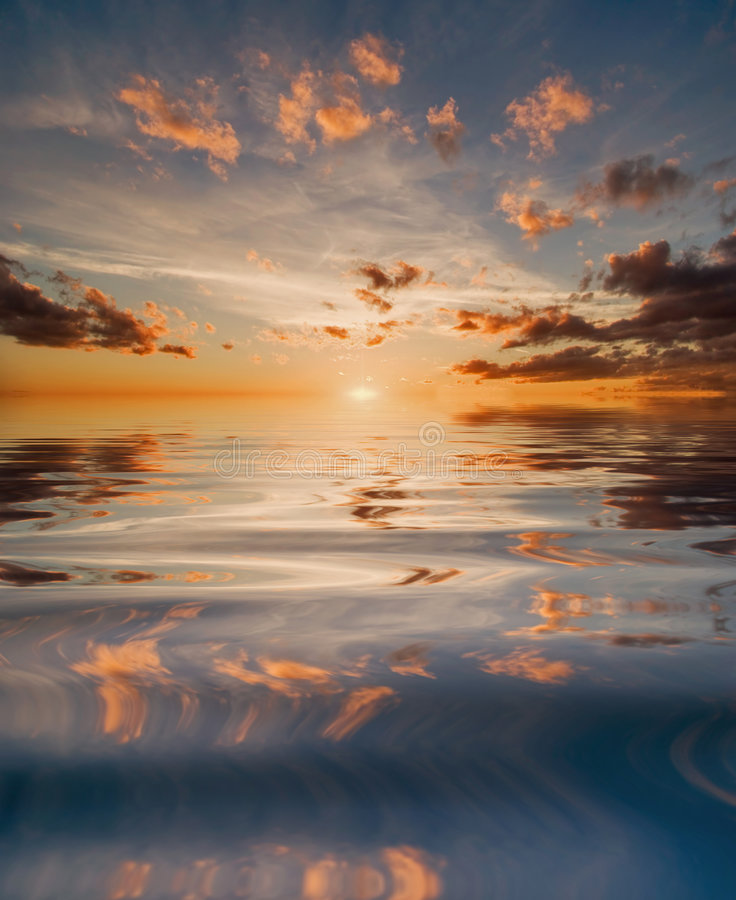 Download Reflection Of Sunset In Water Stock Illustration - Image: 7110364