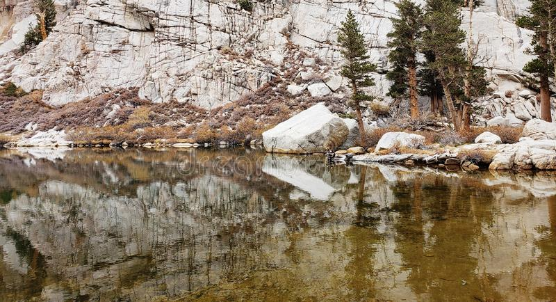 Mirror Pond Mt Whitney stock images