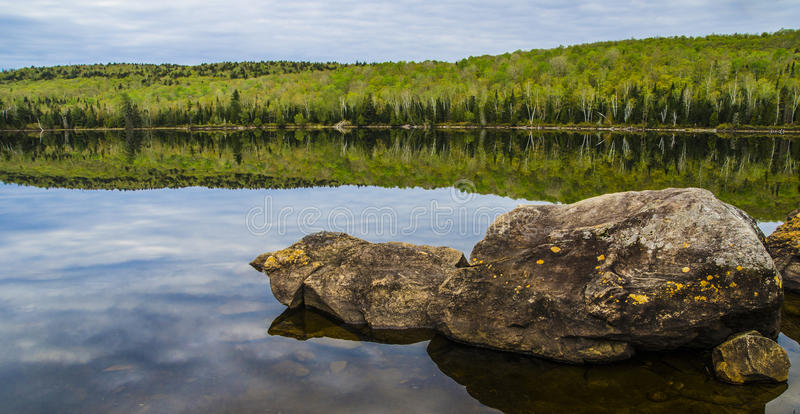 Reflection. A typical landscape from national park in Quebec at summer royalty free stock photos