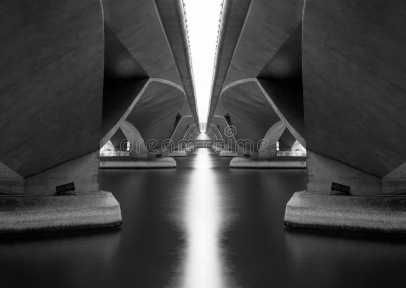 Reflection under Esplanade Bridge in structure of architecture concept, urban city, Singapore Downtown area. Monochrome image.  royalty free stock images