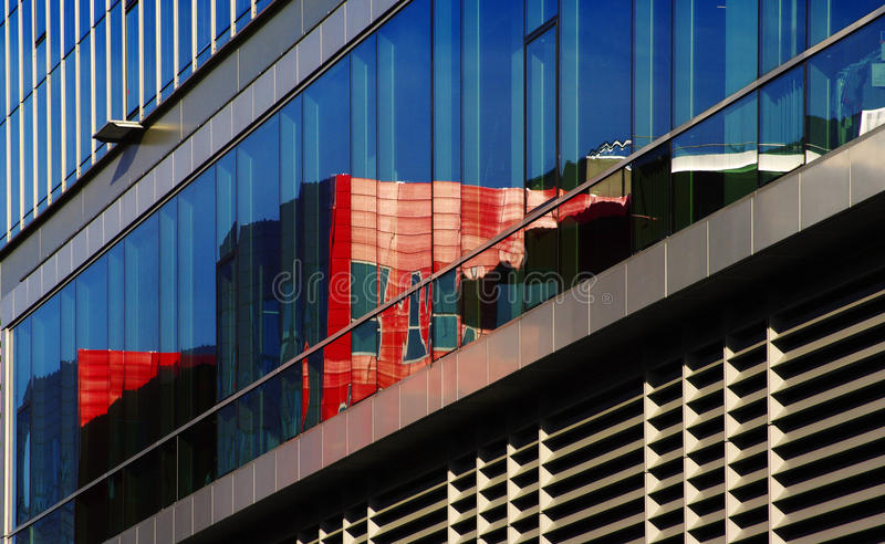 Reflection on urban architecture stock photo