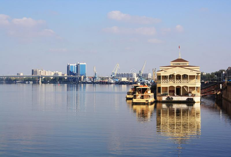 Reflection in Volga River in Astrakhan royalty free stock photos