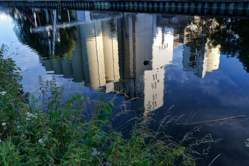 Reflection modern water factory, Wijgmaal, Leuven, Belgium stock photos