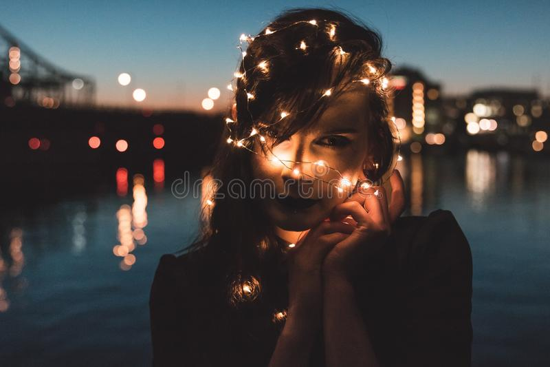 Reflection, Water, Night, Light stock photography