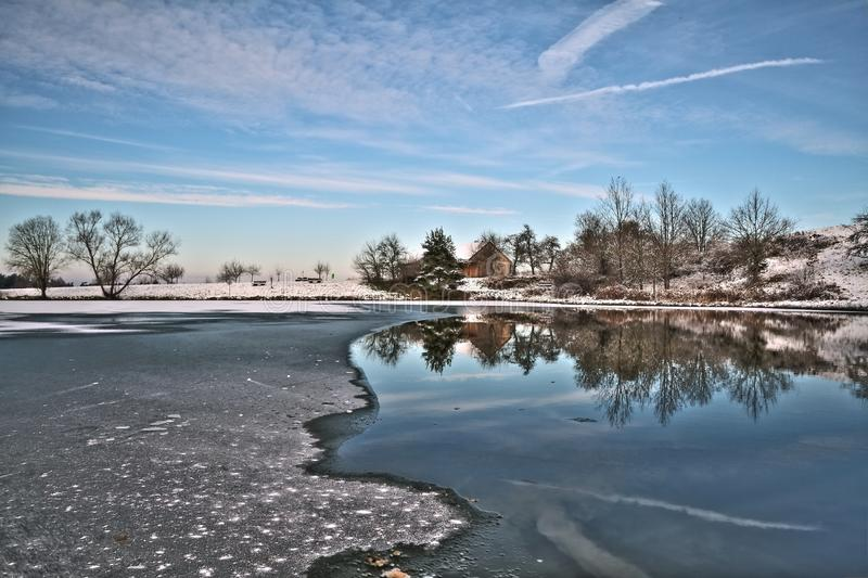 Reflection, Water, Sky, Winter royalty free stock image