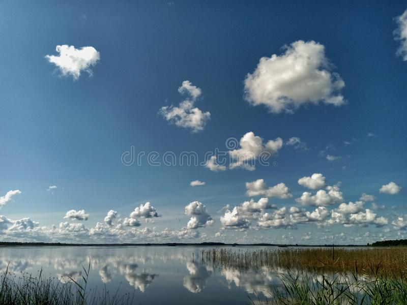 Reflection of white clouds. White clouds reflected in the lake royalty free stock image
