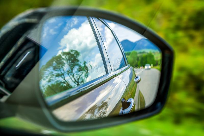 Reflection in wing mirror royalty free stock photos