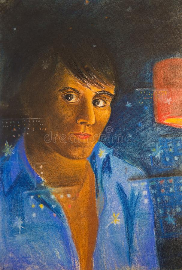 Reflection of a young man on a dark window stock illustration