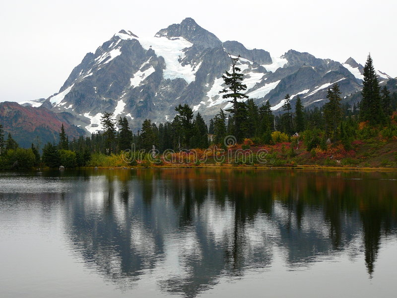 Reflections. Reflection of Mount Baker covered in snow stock photo