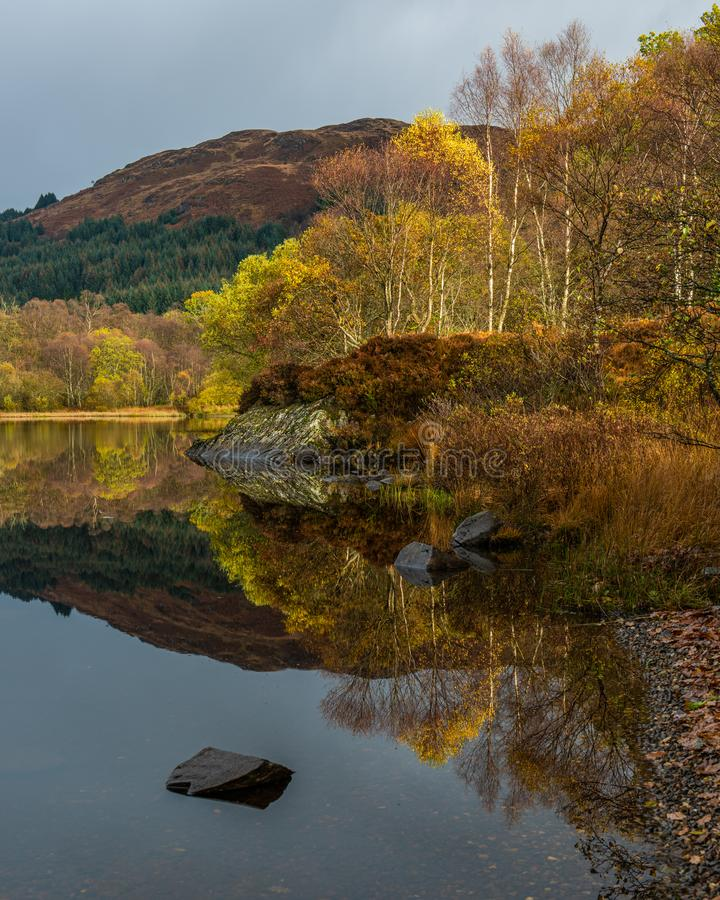 Reflections of Autumn in Loch Chon royalty free stock photo