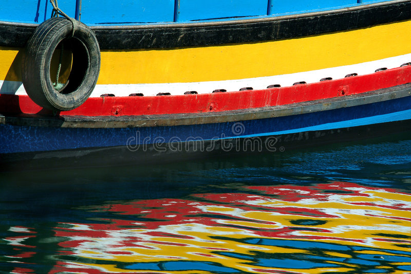Reflections of the boat stock image