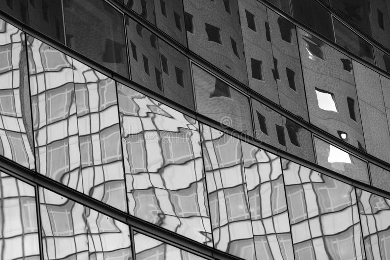 Reflections in a building facade stock image