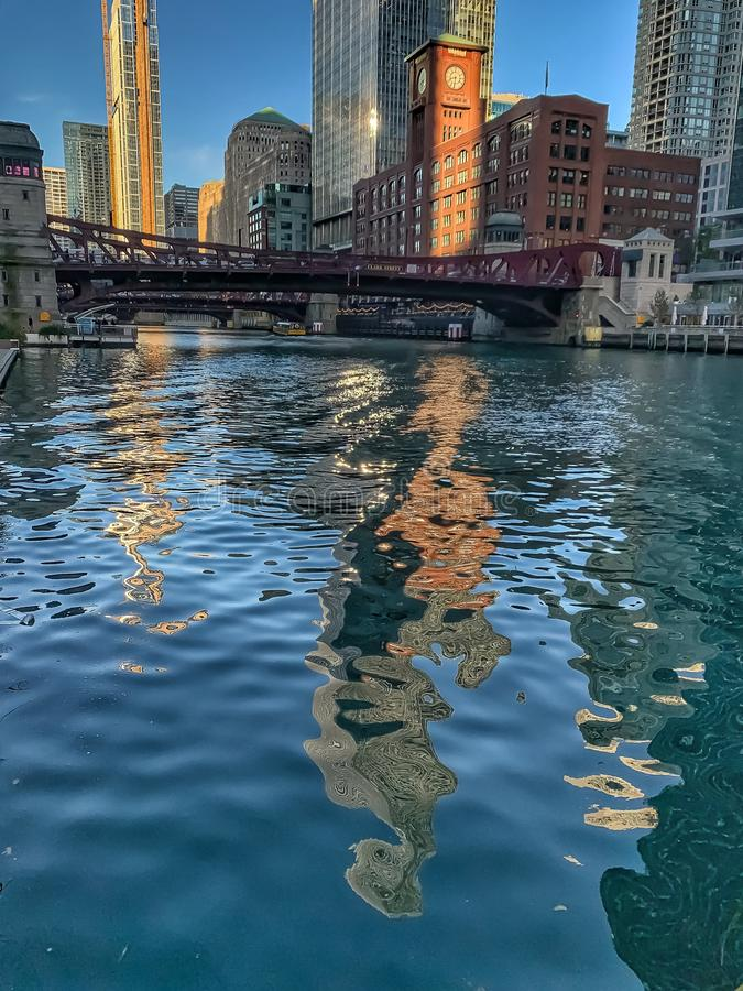 Reflections on Chicago River during autumn morning stock image