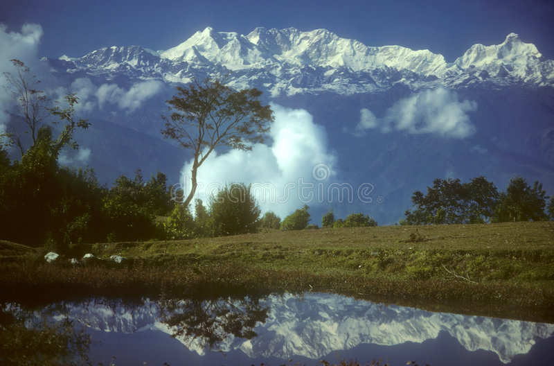Reflections in high mountain royalty free stock photography