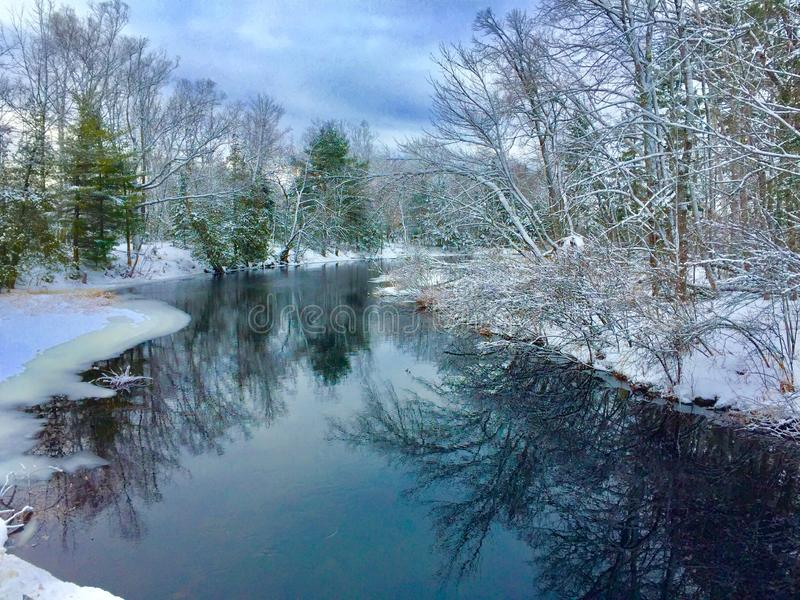 Reflections on inlet of Big Indian pond in Central Maine stock photos