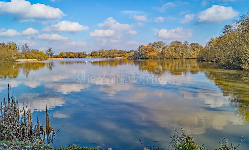 A beautiful view of the white and blue Reflections on Knepp Mill Pond, Sussex, England stock photo