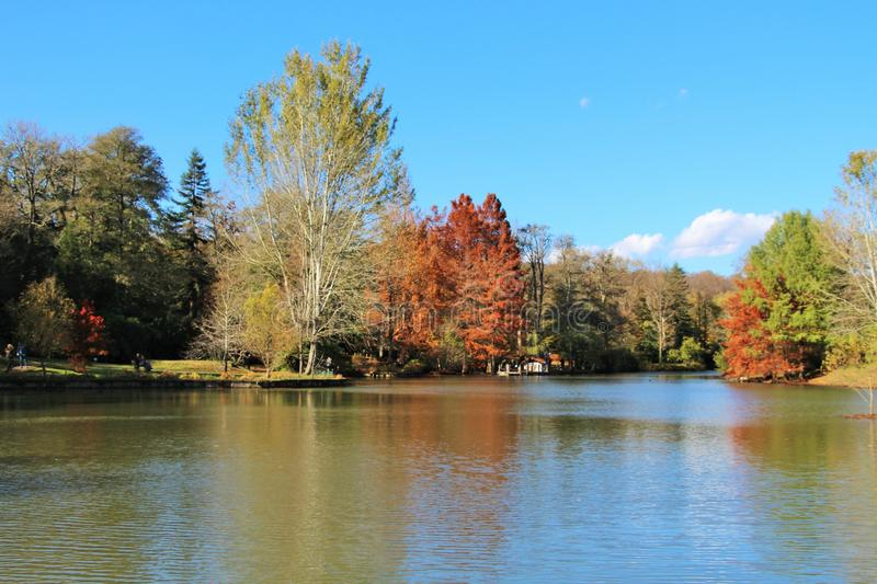 Reflections in the lake in autumn royalty free stock image