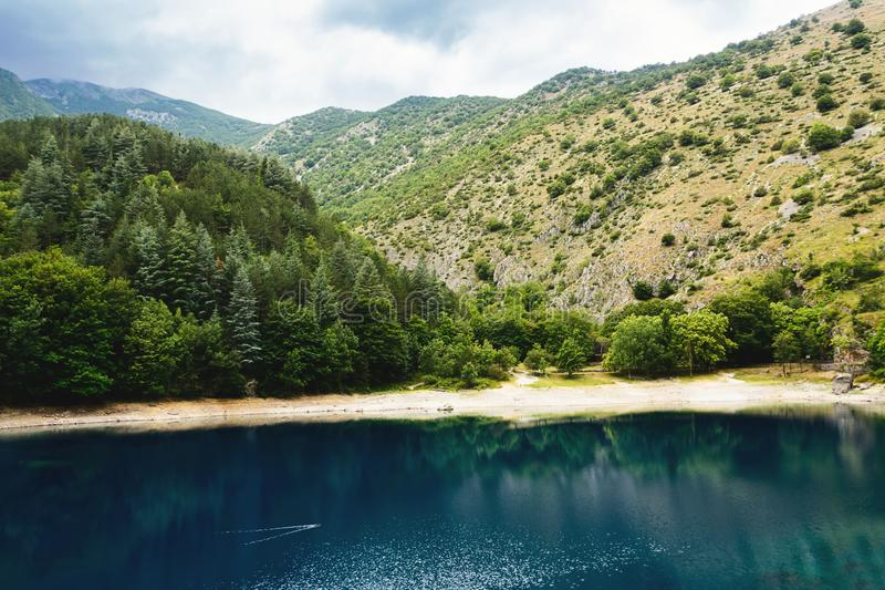 Reflections in the lake of San Domenico in the Gorges of Sagittarius stock image