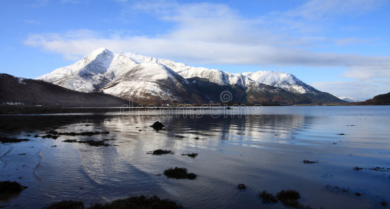 Reflections in Loch Kinlochleven stock photo